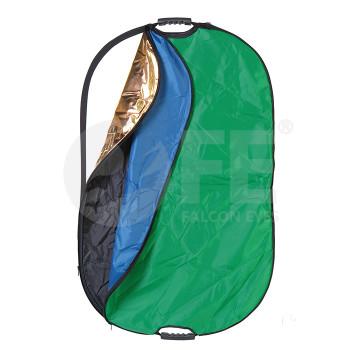 Отражатель Falcon Eyes RRK7-2844 HL Овальный лайт-диск 7 в 1, цвет: золотистый/серебристый/белый отражающий/ белый просвечивающий/черный/зеленый/синий, размер 70x110 см, в сложенном виде диаметр 38 с